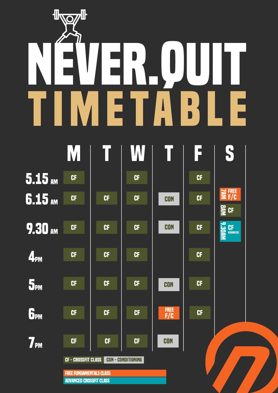 CFNQ Timetable